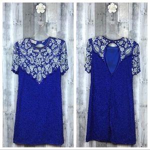 Vintage Royal Blue & Silver Beaded Dress Sz PL EUC
